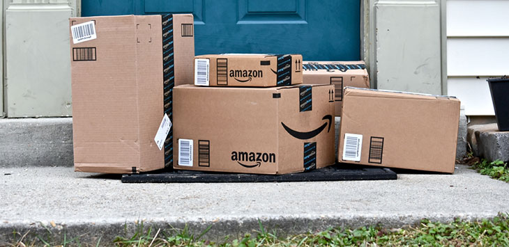 Amazon boxes delivered to a house